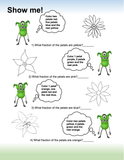 Green alien asks kids to do fun fraction coloring activity