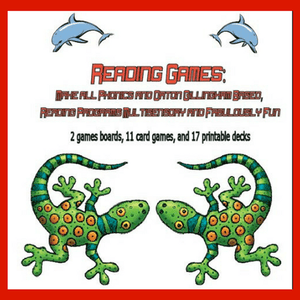 Cover picture of reading games shows geckos and dolphins