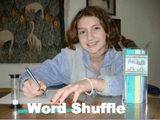 Smiling student is playing Word Shuffle