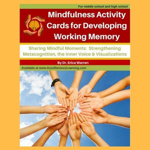 Children's hands coming together on a book cover of activity cards for developing working memory