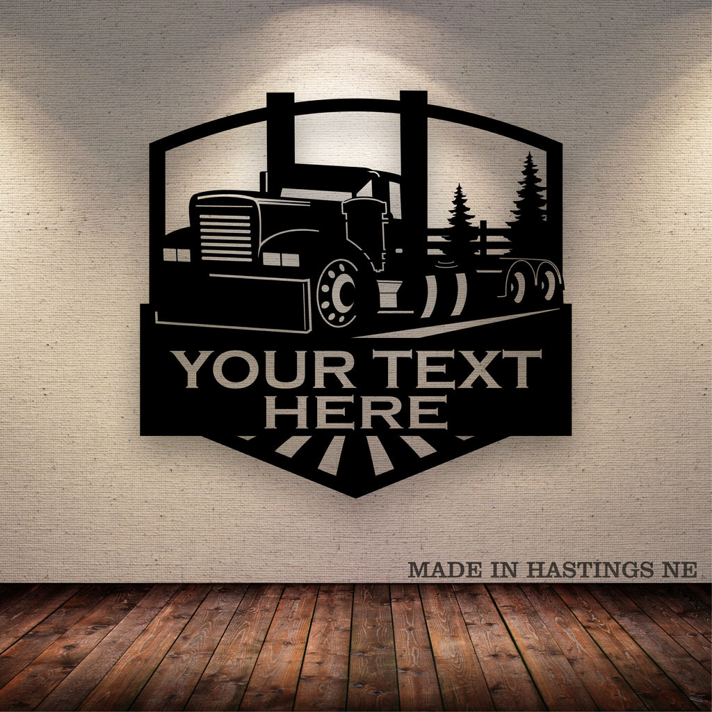 Big Rig Hot Rod Arch Trees Metal Wall Sign