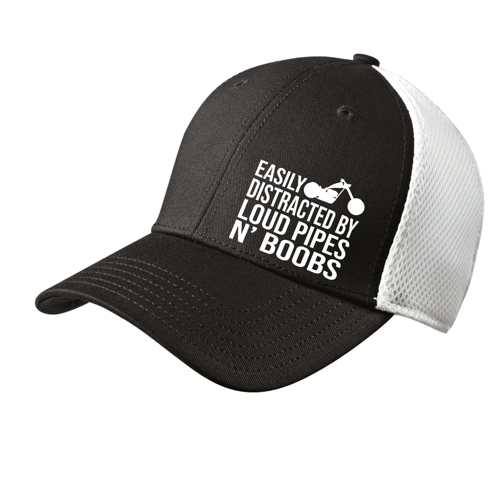Easily Distracted by Loud Pipes & Boobs Flexfit Hat Free Shipping