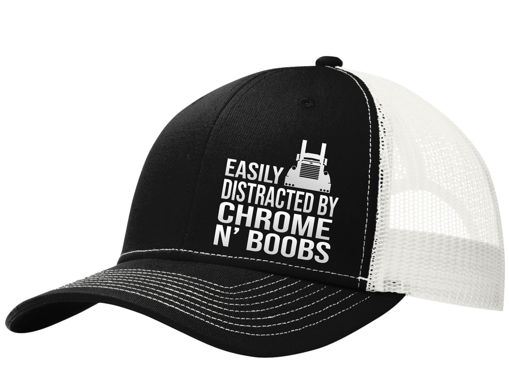 Easily Distracted by Chrome & Boobs Pete Trucker Hat Free Shipping