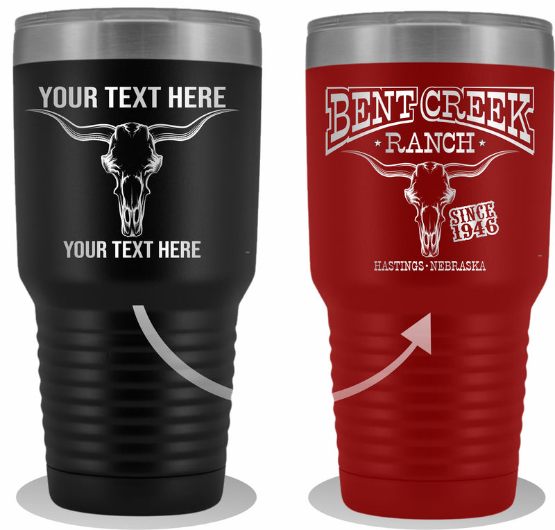 Bull Skull Etched Your Text 30oz Tumbler Free Shipping