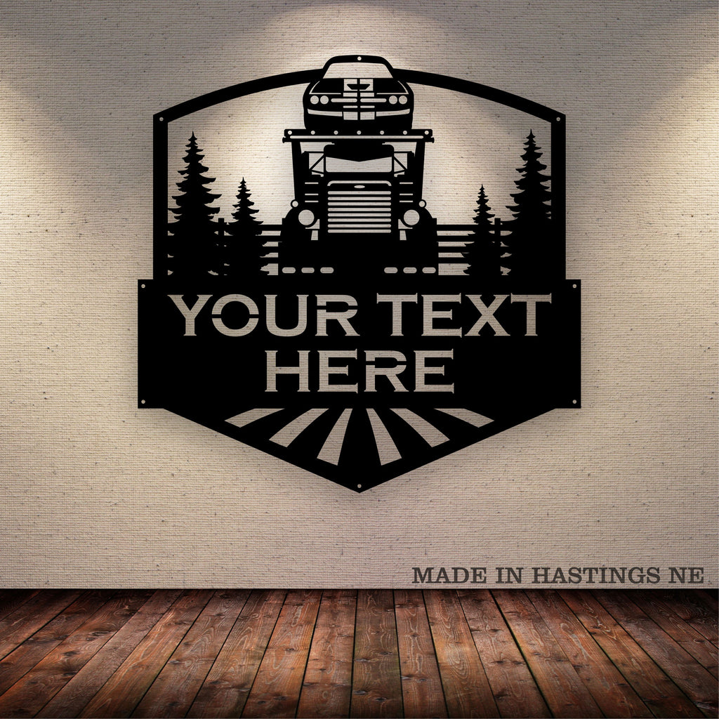 Car Hauler Pete Your Text Here Metal Wall Art Free Shipping