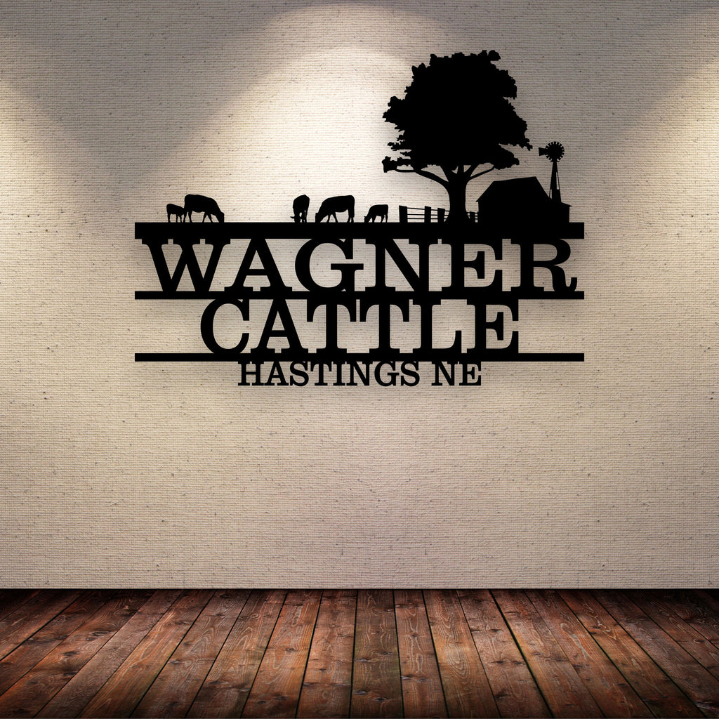 Cattle Farm Barn Your Text Here Metal Wall Art Free Shipping