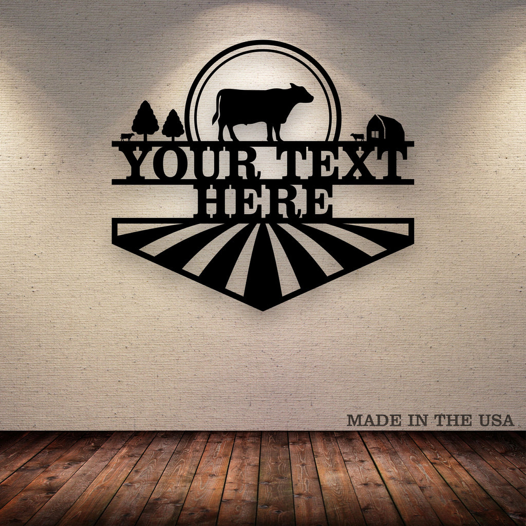 Cattle Sun Farm Your Text Here Metal Wall Art Free Shipping