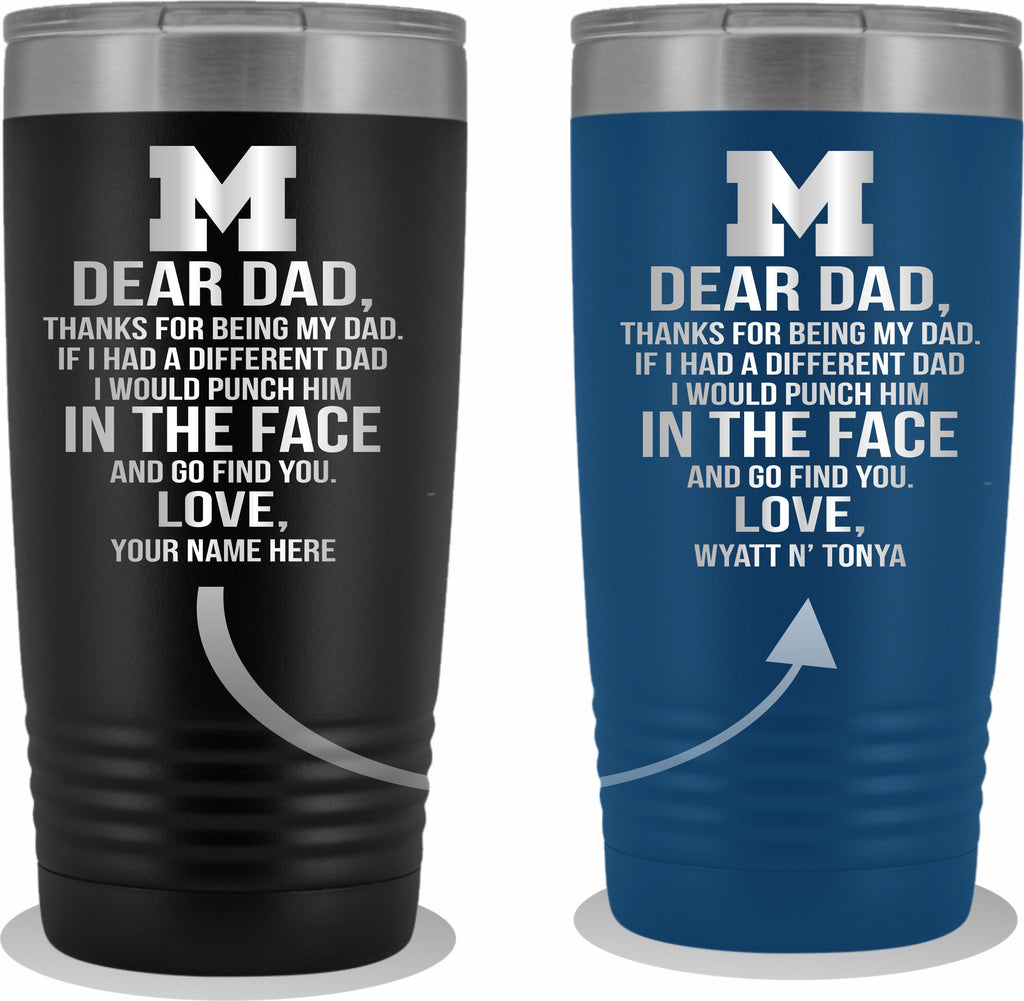 Dear Dad Initial M Your Name(s) 20oz Tumbler Free Shipping