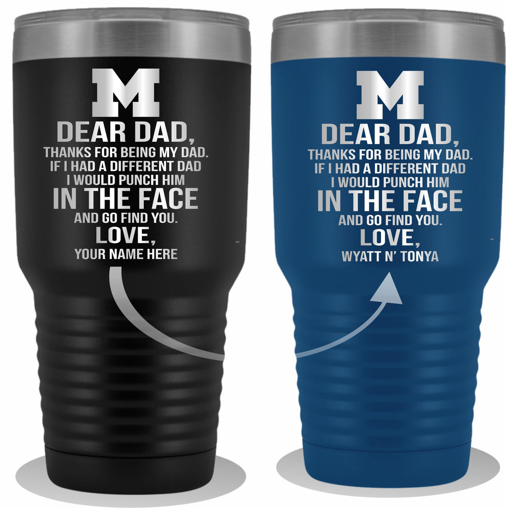 Dear Dad Initial M Your Name(s) 30oz Tumbler Free Shipping