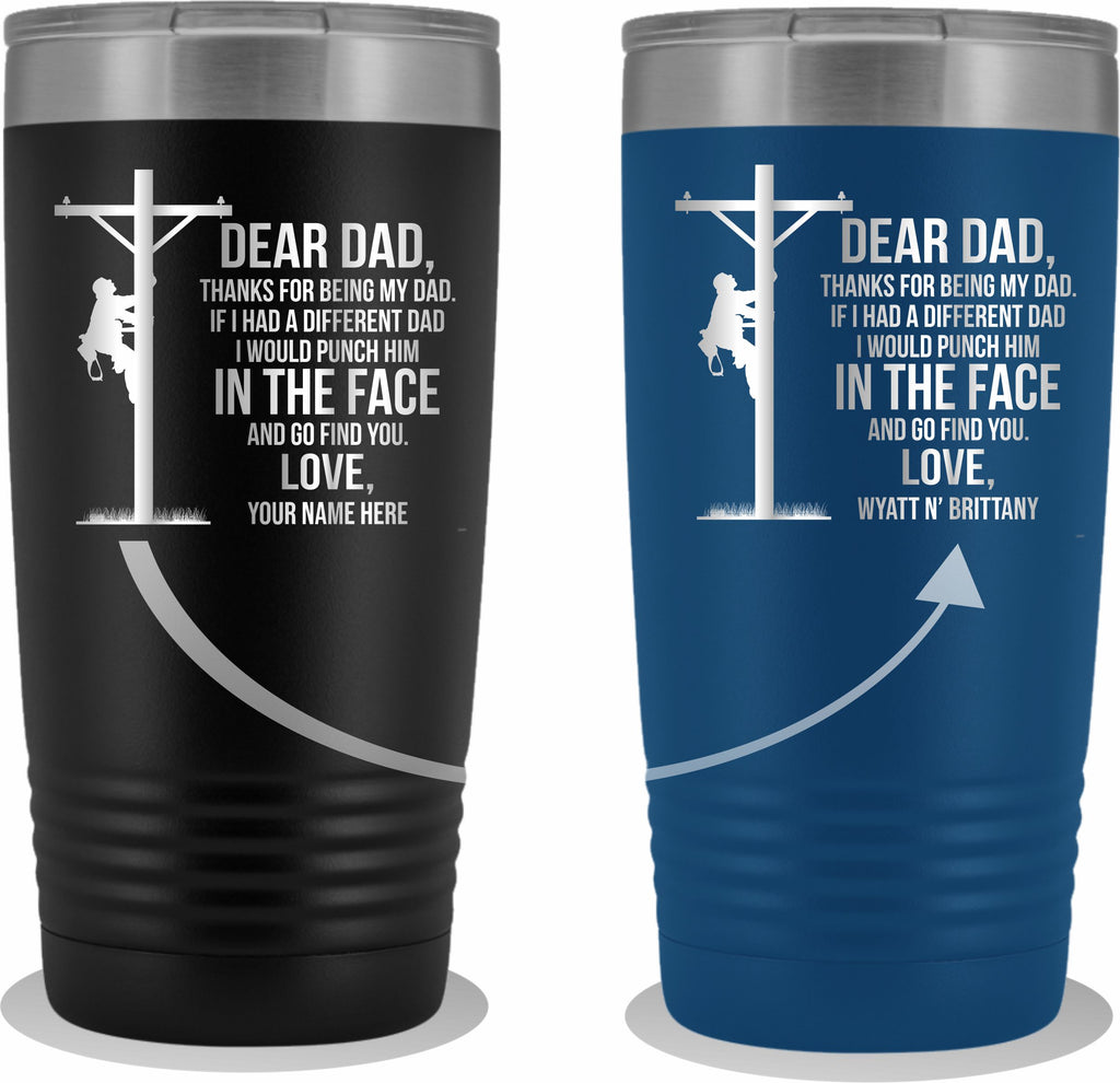 Dear Dad Lineman 20oz Tumbler Free Shipping