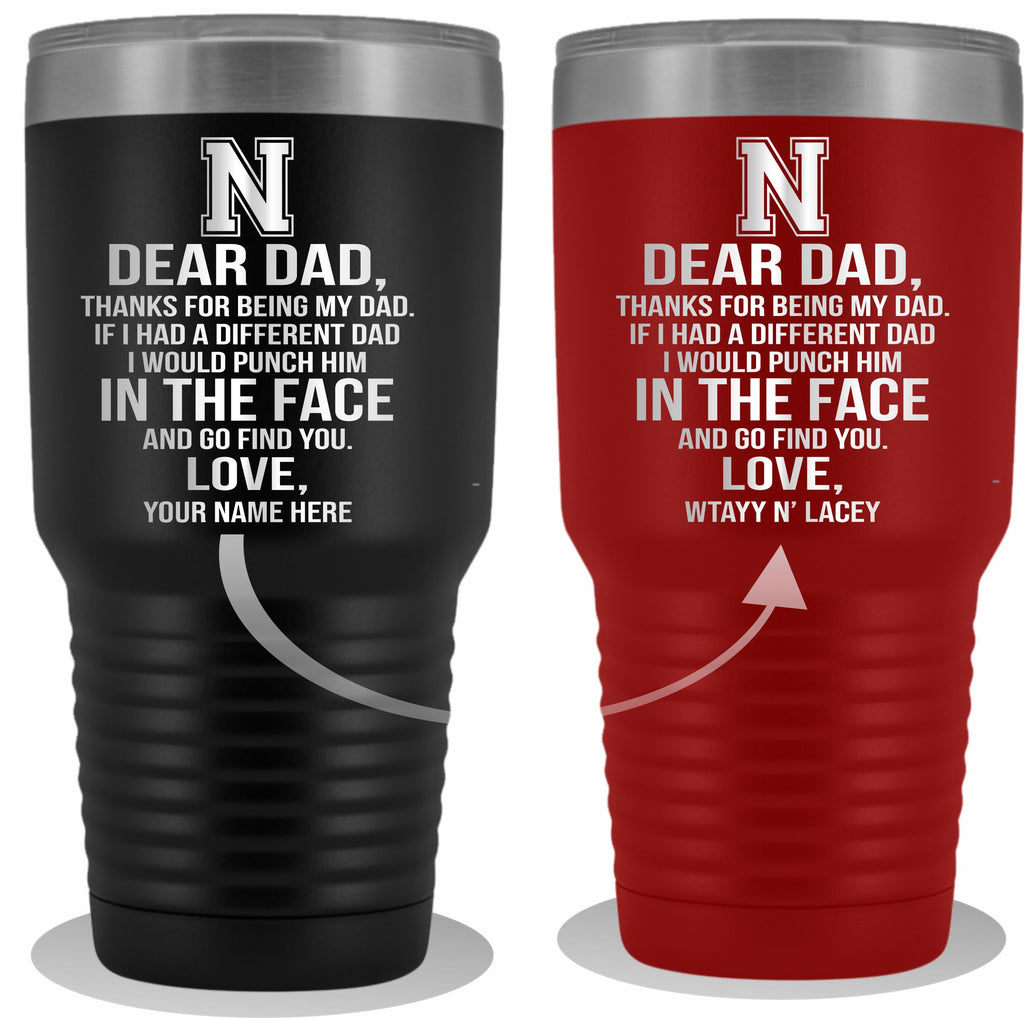 Dear Dad Initial N Your Name(s) 30oz Tumbler Free Shipping