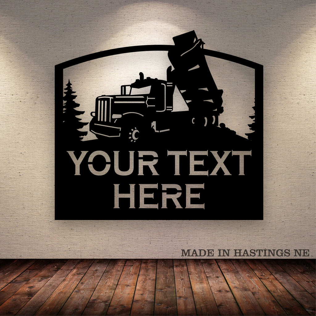 Dump Truck Pete Your Text Here Metal Wall Art Free Shipping