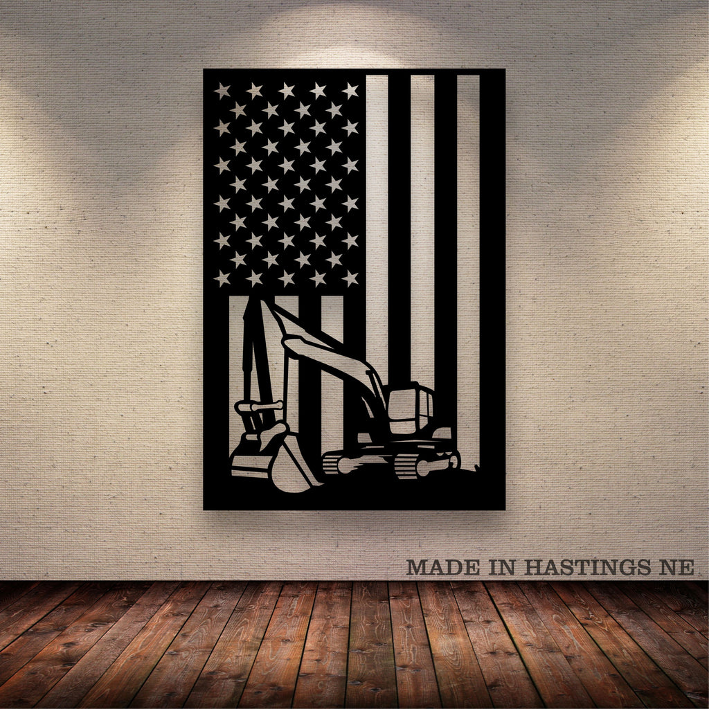 Excavator American Flag Metal Wall Art Free Shipping
