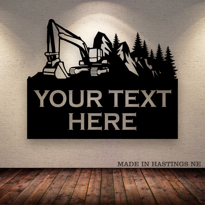 Excavator Mountain Trees Your Text Here Metal Wall Art Free Shipping