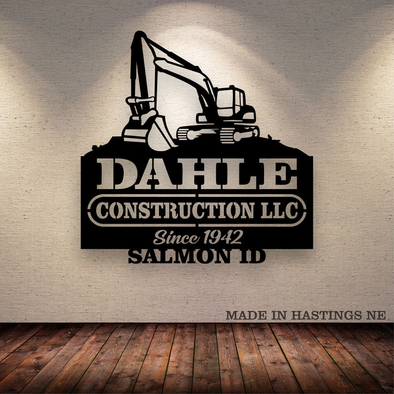 Excavator Your Text Here Metal Wall Art Free Shipping