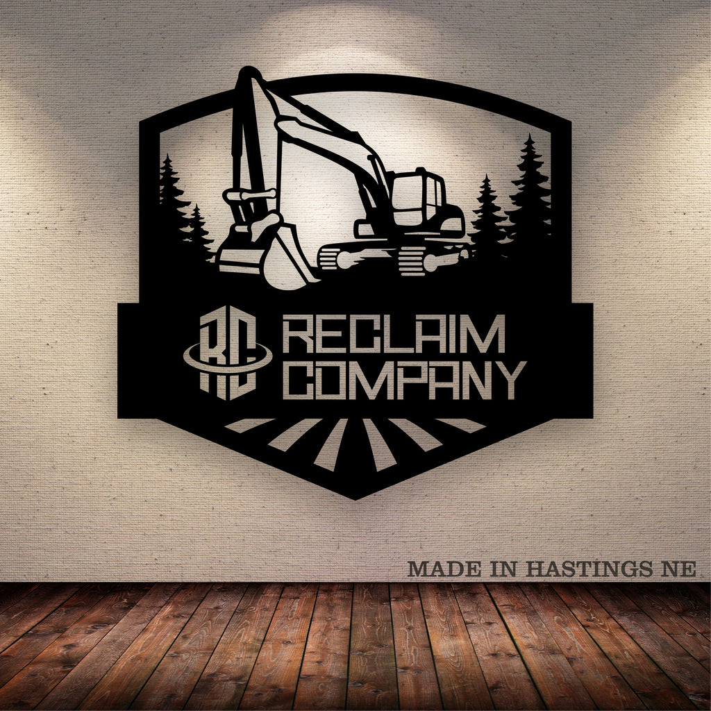 Excavator Trees  Arch Your Text Here Metal Wall Art Free Shipping