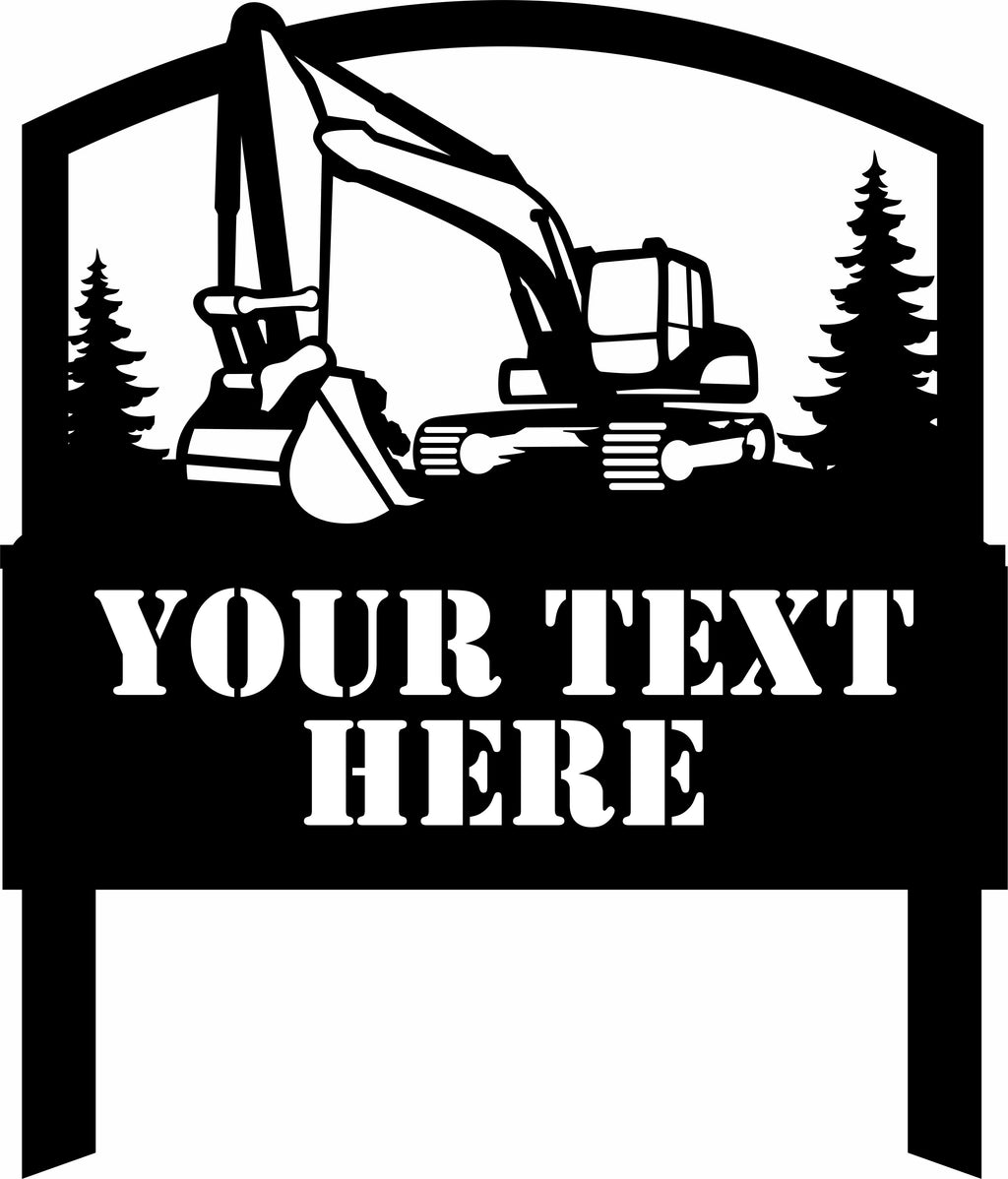 Excavator Pine Trees Metal Yard Stake Sign Free Shipping