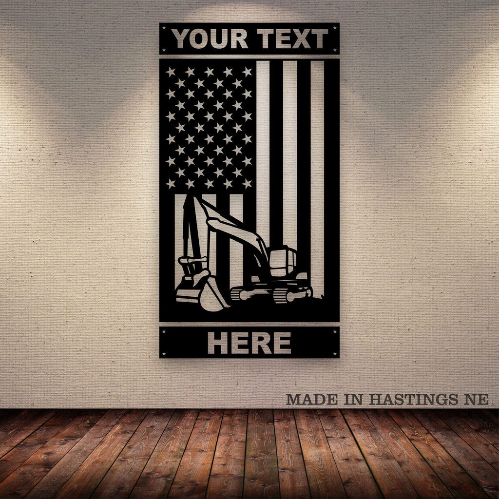 Excavator American Flag Your Text Metal Wall Art Free Shipping