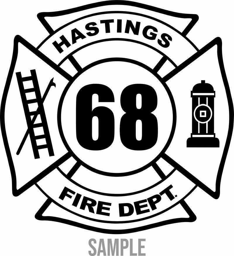 Fire Department Your Text Here Vinyl Decal Free Shipping