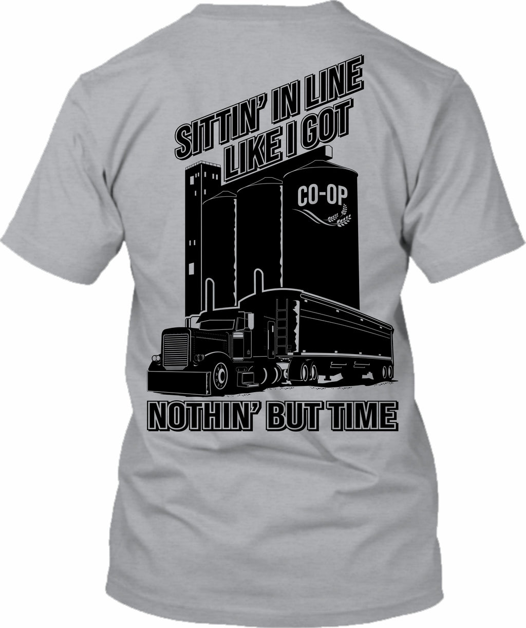 Sittin' In Line Like I Got Nothin'  but Time Pete Grain Hauler
