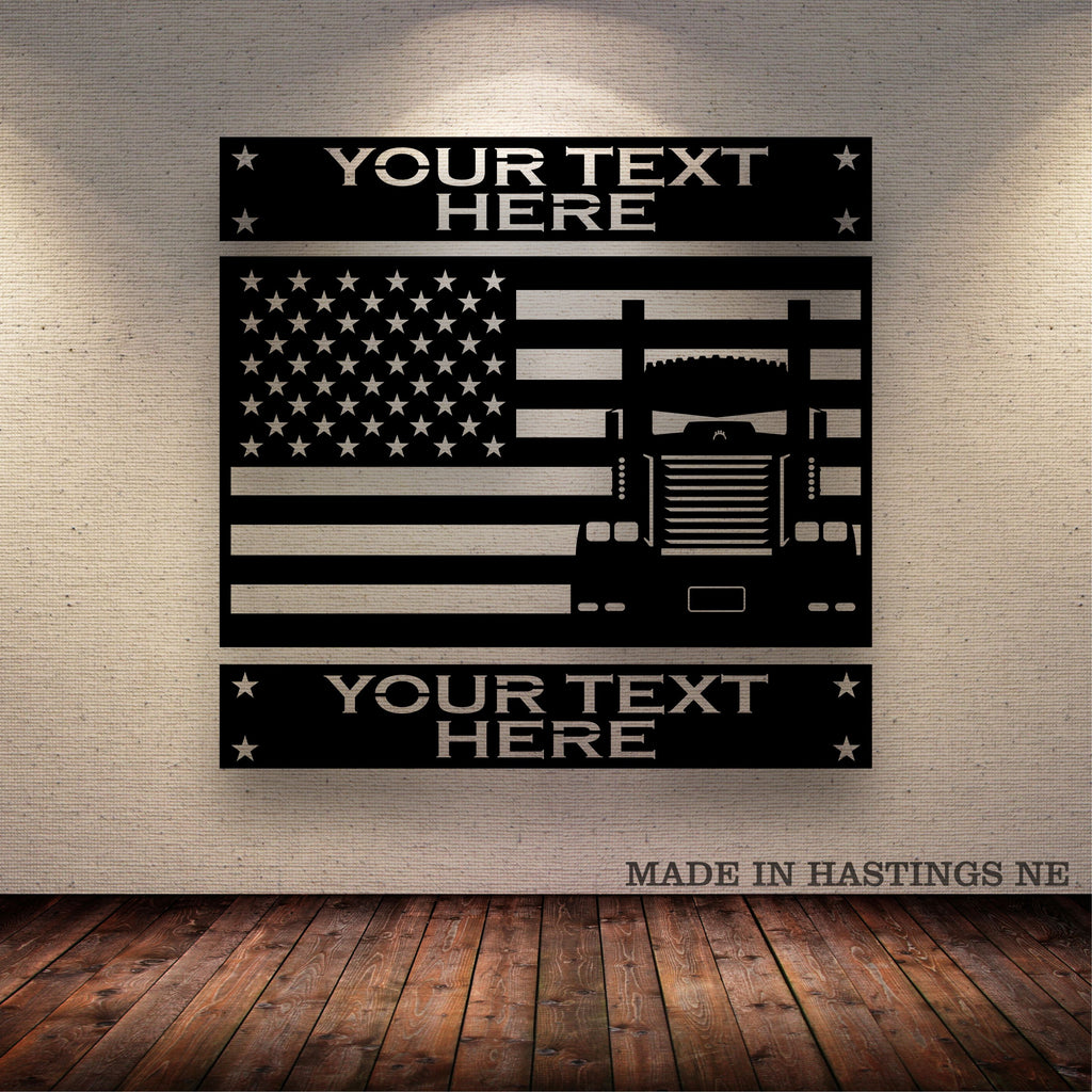 KW American Flag Horizontal Your Text Metal Wall Sign Free Shipping