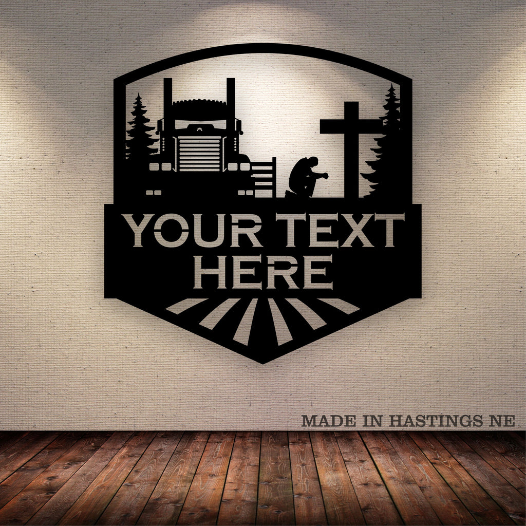 KW Driver Kneeling Cross Your Text Here Metal Wall Art Free Shipping
