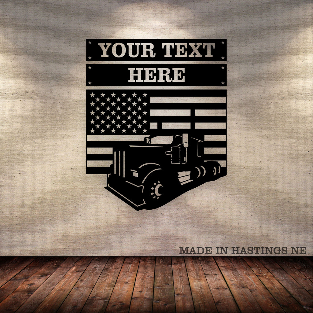 KW 900 American Flag 3 Piece Set Your Text Metal Wall Art Free Shipping