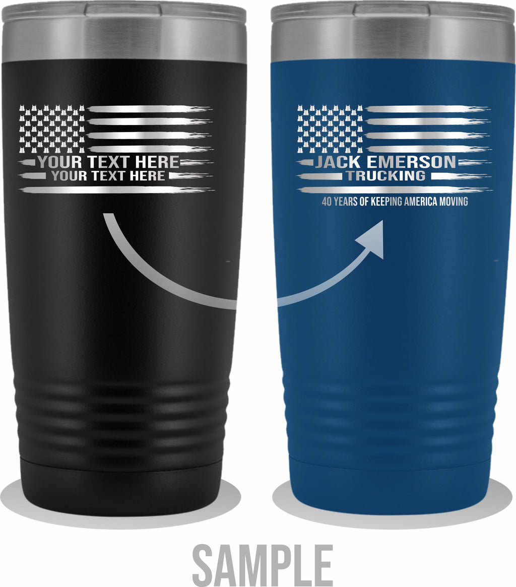 KW Stars American Flag Your Text 20oz Tumbler Free Shipping
