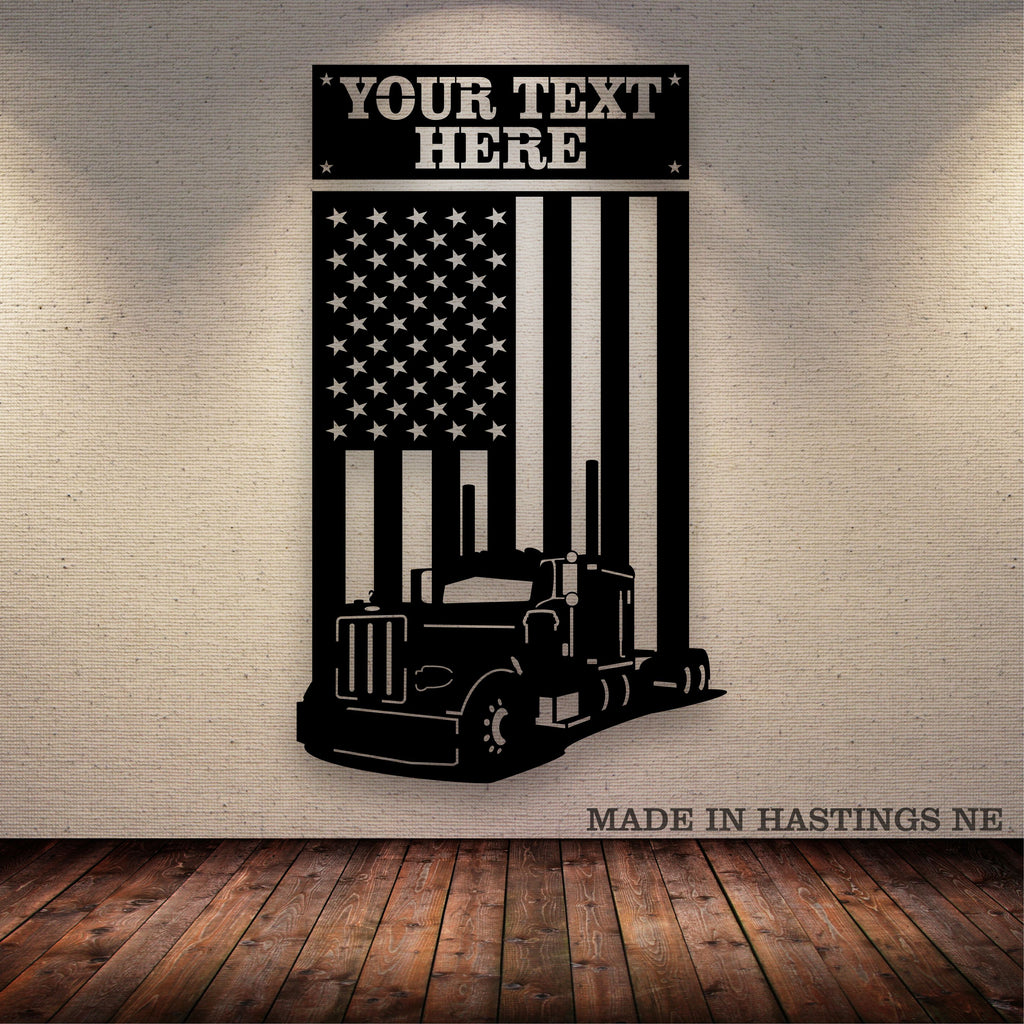 Pete 379 American Flag Your Text Metal Wall Art Free Shipping