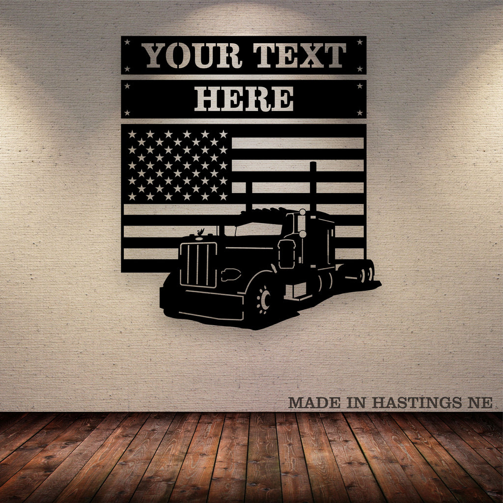 Pete 379 American Flag 3 Piece Set Your Text Metal Wall Art Free Shipping