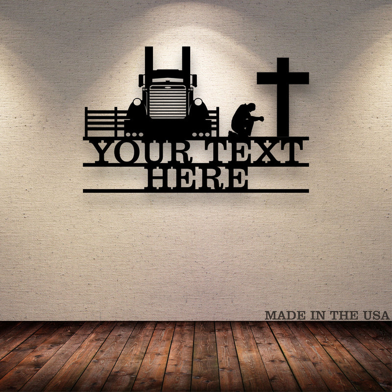 Pete Driver Kneeling Cross Your Text Here Metal Wall Art Free Shipping