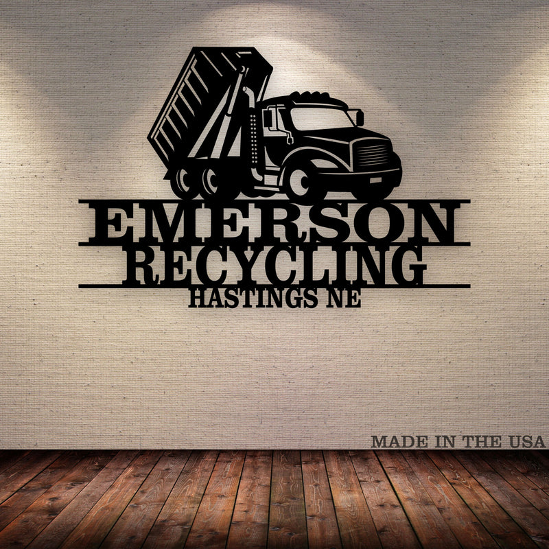 Roll Off Truck Your Text Here Metal Wall Art Free Shipping