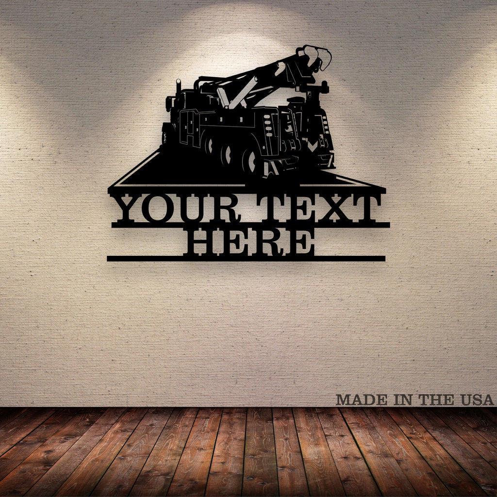 Wrecker Tow Truck Your Text Here Metal Wall Art  Free Shipping