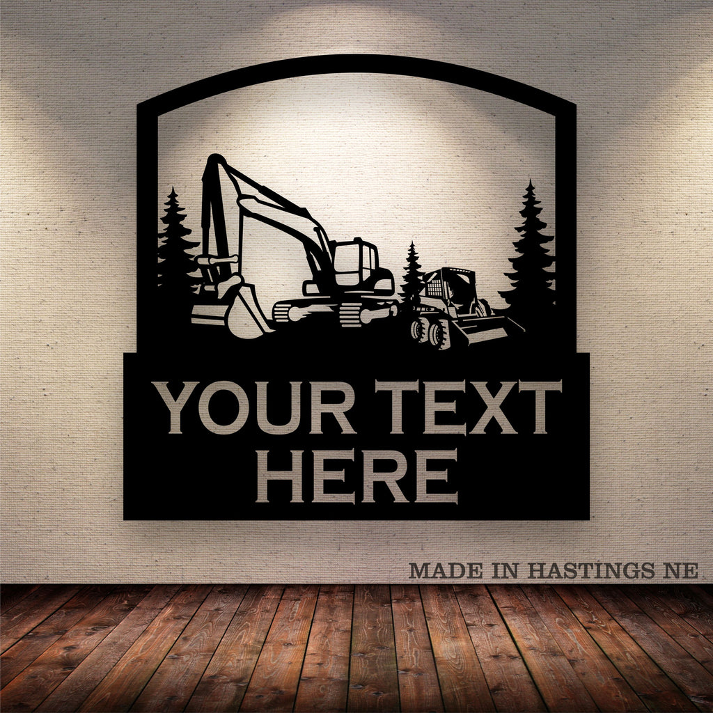 Excavator Skid Loader Wheels Metal Wall Sign Free Shipping