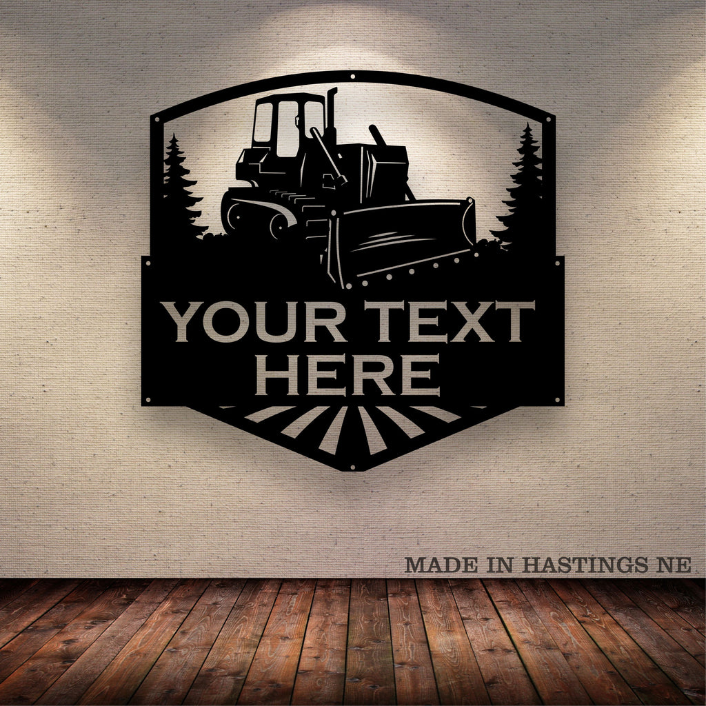 Bulldozer Your Text Here Metal Wall Art Free Shipping