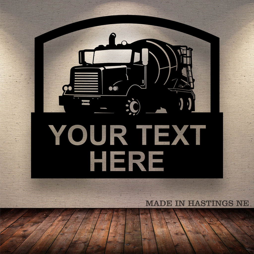 Concrete Mixer Truck Your Text Here Metal Sign Free Shipping