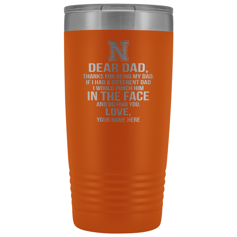Dear Dad Initial N Your Name(s) 20oz Tumbler Free Shipping