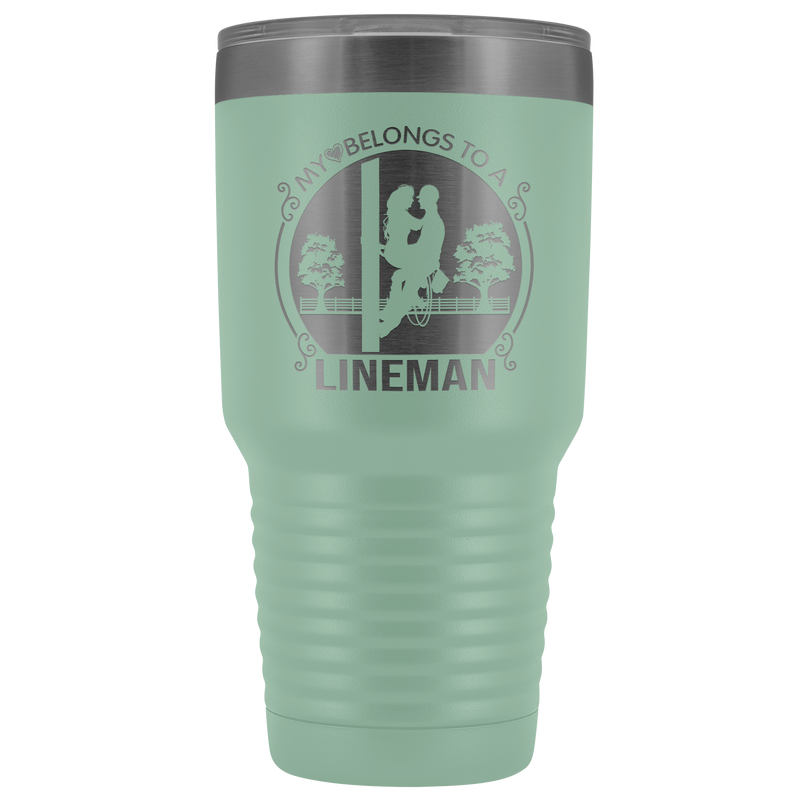 My Heart Belongs to a Lineman Sitting 30oz Tumbler Free Shipping