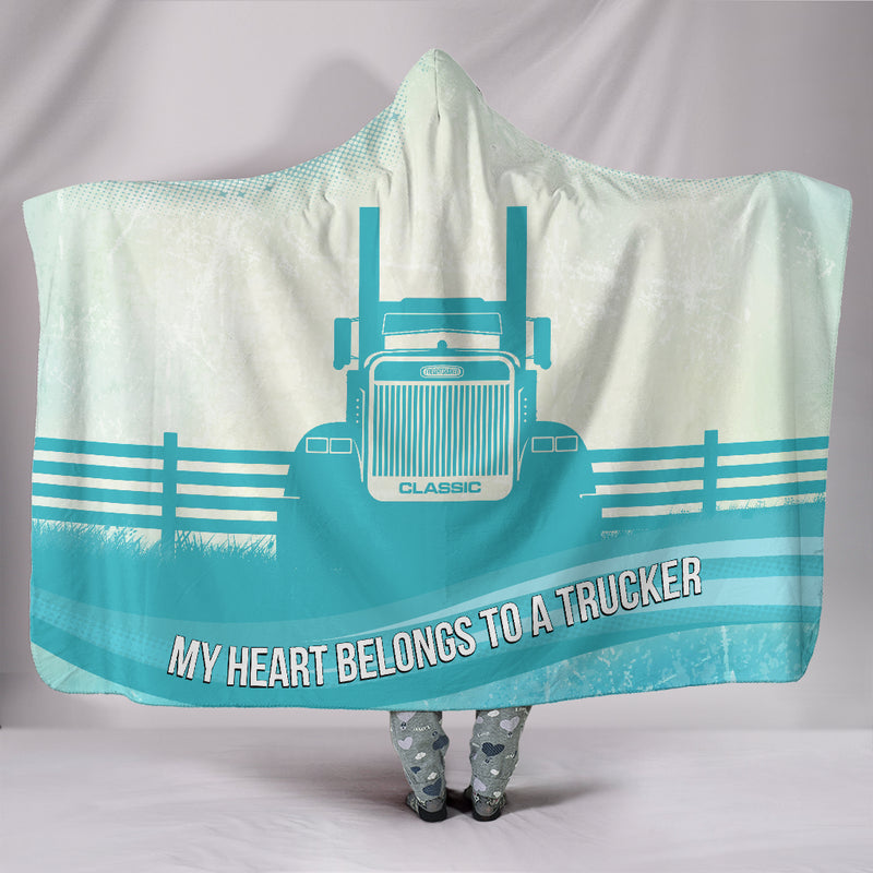 My Heart Belongs to a Trucker Classic Hooded Blanket Free Shipping