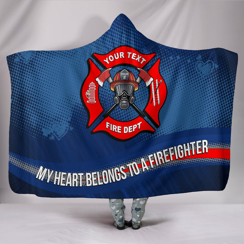 My Heart Belongs to a Firefighter Hooded Blanket Free Shipping