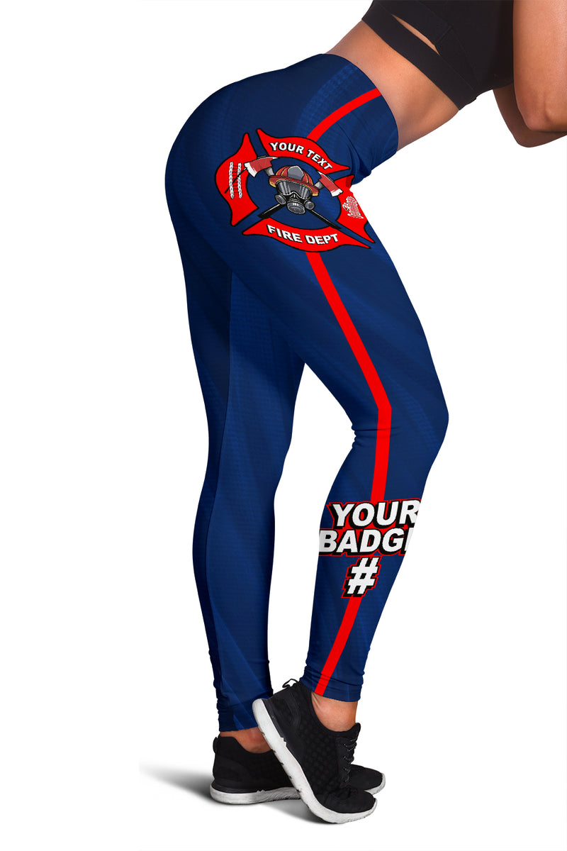 Fire Department Your Text Here Leggings Free Shipping