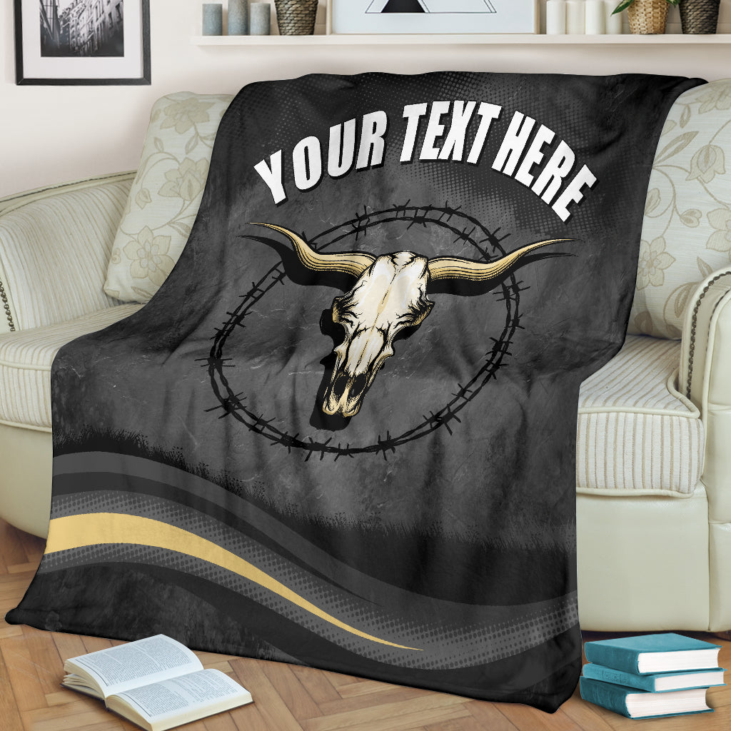 Bull Skull Barb Wire Your Text Here Micro Fleece Blanket  Free Shipping