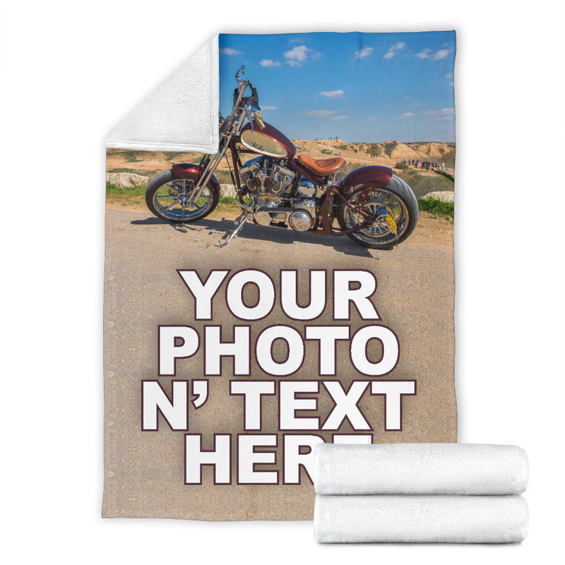 Motorcycle Your Photo n' Text Fleece Blanket Free Shipping