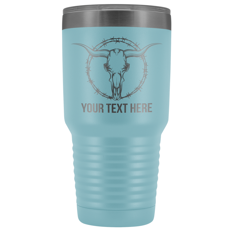 Bull Skull Barb Wire Your Text Here Tumbler Free Shipping