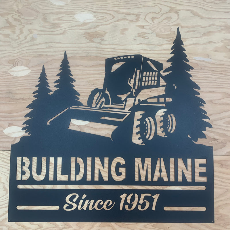 Skid Loader Bobcat Trees Your Text Here Metal Wall Art Free Shipping