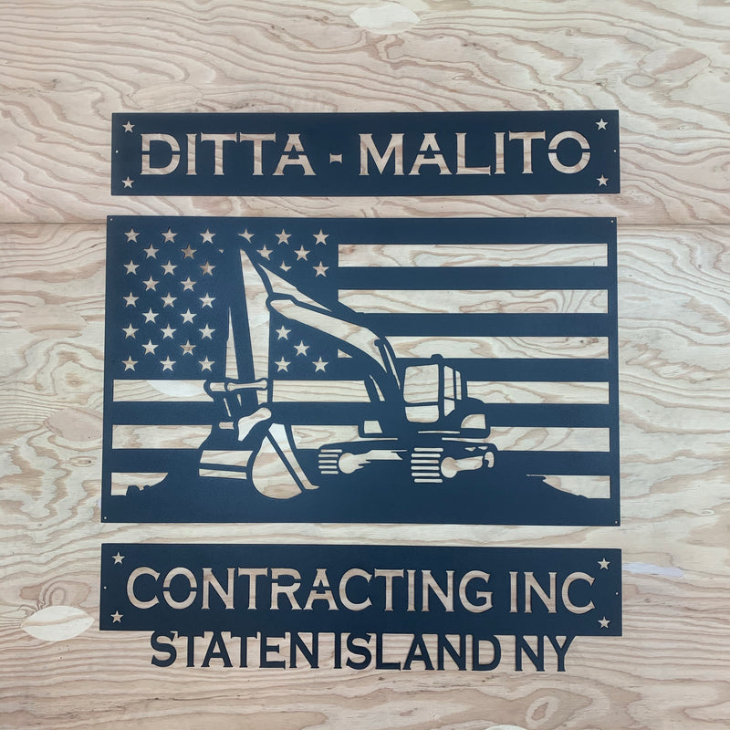 Excavator American Flag 3 Piece Set Your Text Metal Wall Art Free Shipping