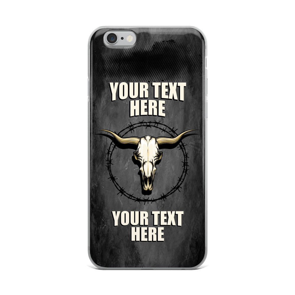 Bull Skull Barb Wire Your Text Here iPhone Case Free Shipping
