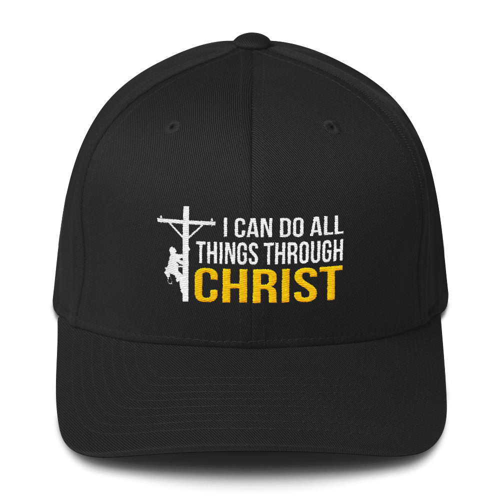 738a0262001 I Can Do All Things Through Christ Lineman Flexfit Hat Free Shipping