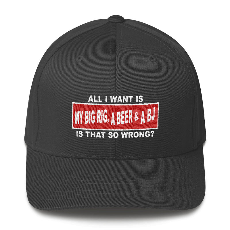 All I Want Is My Big Rig, A Beer & A BJ Flexfit Hat Free Shipping