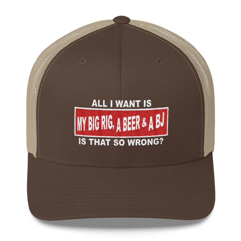 All I Want Is My Big Rig, A Beer & A BJ Snapback Hat Free Shipping